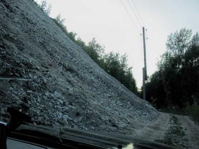 Дорога к горе Верблюд, камнепад